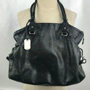 FURLA Large Black Leather Hobo Shoulder Bag